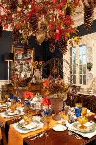 DSC_1491 Three Tips For Thanksgiving : Aim To Awe !!! Bebe'!!! Make a special layered tablescape in bright fall colors...use orange linen table runners and then orange roses in the centerpieces and blue accents with stemware cyrstal!!! From Dtyle At Home !!! From Nell Hill's Blog !!! www. nellhillsblog.com !!! Use three different chinas...white charger, majolica dinner plate and a gold tone salad plate!!!