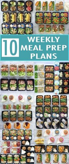 Ten weekly meal prep plans for a healthy new year! I rounded up my 10 most popular meal prep posts from 2017. Each one includes a meal plan, recipes, nutrition info, snack ideas, and container recommendations!