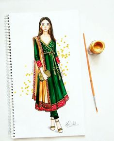 Traditional angrakha style with brocade and golden embellishments - why not! Dress Design Drawing, Dress Design Sketches, Dress Drawing, Fashion Design Drawings, Fashion Sketches, Dress Illustration, Fashion Illustration Dresses, Fashion Sketchbook, Moda Fashion