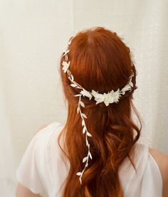 White will look very good in dark hair. Wedding flower crown, white floral circlet, delicate leaf head wreath, hair accessories - dove song. $45.00, via Etsy.