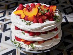 Pavlova Layer Cake with Raspberries and Peaches