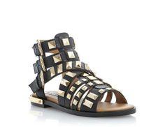 f8a1c244cc0a07 STEVE MADDEN Black HERRA - Triple Buckle Sandal with Polished Metal Studs