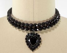 Jet Glass Faceted Beaded Choker Necklace Memory Wire Glass Heart Dangle #Nomarkings #Choker