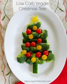 This veggie Christmas tree is a great low carb festive option to serve at gatherings! A quick and easy idea to serve with your favorite dip!