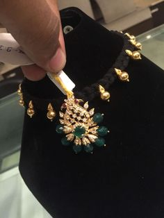 Indian Jewellery and Clothing: Beautiful black threaded necklace from Premraj Shantilal jewellers Hyderabad. Antique Jewellery Designs, Gold Earrings Designs, Necklace Designs, Jewelry Design, Thread Jewellery, Gold Jewellery, Black Diamond Chain, Wholesale Gold Jewelry, Gold Jewelry Simple