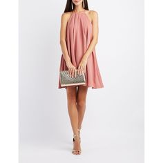 Charlotte Russe Bib Neck Shift Dress ($32) ❤ liked on Polyvore featuring dresses, dusty rose, white cocktail dress, evening dresses, special occasion dresses, white spaghetti strap dress and cocktail shift dress