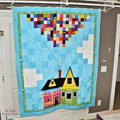 """de Jong Dream House: Quilt #35: beautiful & meaningful Wedding-Turned-Memorial """"UP"""" themed quilt"""