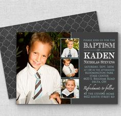 cute LDS baptism invitations, boy baptism invitation customized for you