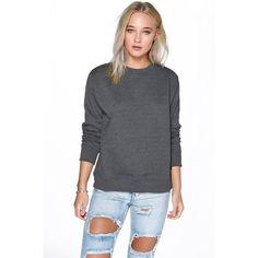 Boohoo Louise Crew Neck Sweat Shirt ($16) ❤ liked on Polyvore featuring tops, hoodies, sweatshirts, charcoal, basic t shirts, cropped sweatshirt, long sleeve jersey, crewneck sweatshirt and cotton sweatshirt