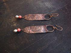 Coral Earrings Pearl Earrings Copper Earrings by MaryBulanova