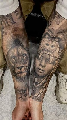 African Sleeve Tattoo, Viking Tattoo Sleeve, Realistic Tattoo Sleeve, Animal Sleeve Tattoo, Lion Tattoo Sleeves, Chicano Tattoos Sleeve, Quarter Sleeve Tattoos, Best Sleeve Tattoos, Tattoo Sleeve Designs
