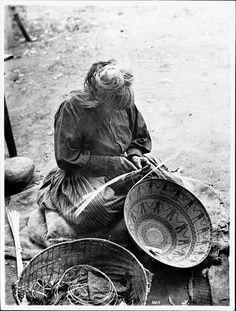 Yokut Indian woman basket maker, Tule River Reservation near Porterville, California, ca.1900 (CHS-3803) | by Fæ