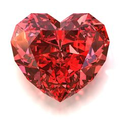 Bright red heart-shaped diamond