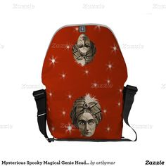 Mysterious Spooky Magical Genie Head Face Turban Small Messenger Bags