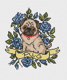 Dog cross stitch pattern tattoo PDF/ Pug funny roses needlepoint counted chart/ cute pet Dog puppy n Baby Cross Stitch Patterns, Cross Stitch Designs, Cross Stitch Rose, Cross Stitch Animals, Cross Stitching, Cross Stitch Embroidery, Puppy Nursery, Nursery Art, Pug Cross