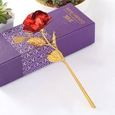 Gold 24K Plated Rose Flower Dipped Decor Valentine's Day Love Gift For Her Red #BlueberryCannon