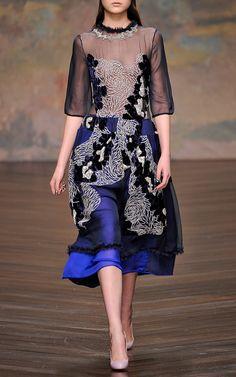 Appliqued Navy Georgette Dress by Michael van der Ham