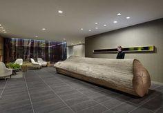 Odada Design: Log Reception desk and log side tables