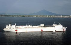 The Military Sealift Command hospital ship USNS Mercy (T-AH 19) sits off the coast of Manado to support Pacific Partnership 2012.