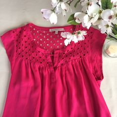 """Daniel Rainn Eyelet Top Bright raspberry pink top from Daniel Rainn with fluttery cap sleeves, eyelet panel detail on top and small """"key hole"""" cut out at neckline. Sz Sm, loose fitting so could work for S-M. EUC, no notable flaws. Perfect for spring and summer! Reasonable offers considered. ❌no offsite transactions Daniel Rainn Tops"""