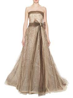Embellished Tulle Strapless Dress by Carolina Herrera at Gilt