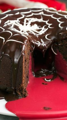 Take a stab at this devilishly rich and ornate chocolate Bundt cake with a blood red chocolate center.