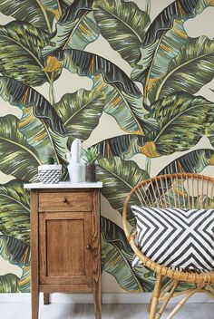 Tropical Palm Leaves Wallpaper  Jungle Mural Removable
