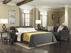 Alenya - Charcoal Wood Queen Sofa Sleeper