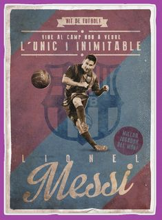 Lionel Messi (Retro football posters on Behance) Retro Football, Football Design, Football Art, Free Football, Lionel Messi, Messi Poster, Soccer Poster, Soccer Images, Sports Images
