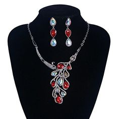 FF Wedding Jewelry Peacock Necklace and Earring Sets Bridal Jewelry