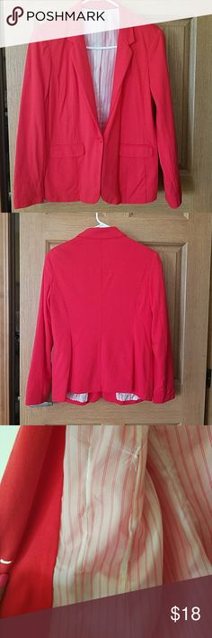 Women's Blazer Red dress blazer for work or to dress up a pair of jeans. Has been worn twice is in perfect condition has extra button sewn inside. Company Ellen Tracy Jackets & Coats Blazers