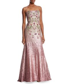 Strapless+Ombré+Sequin+Gown+w/+Beaded+Bodice+by+Theia+at+Neiman+Marcus.