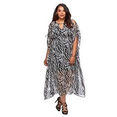 Plus Size Jennifer Lopez Zebra Chiffon Caftan Maxi Dress