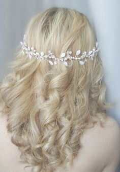 Wedding silver headdress.Bridal silver hair piece by Rozenhandmade $85