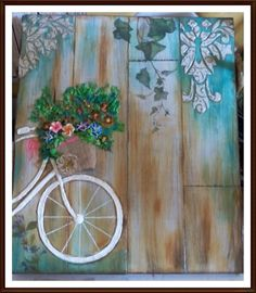 CUADRO EN RELIEVE Wood Crafts, Diy And Crafts, Arts And Crafts, Paper Crafts, Vasos Vintage, Pinterest Pinturas, Decoupage Vintage, Bicycle Art, Pallet Art