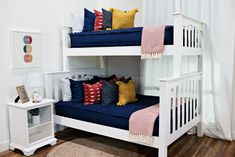 Nautical Navy (All Cotton) - For Bunk Beds Make Your Bed, How To Make Bed, Navy Boys Rooms, Floral Bedroom Decor, Boho Decor, Beddys Bedding, Zipper Bedding, Kids Bunk Beds, Shared Bedrooms