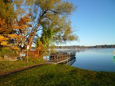 Photo at sunrise of Lake Minocqua from Torpy Park in Minocqua (October, 2012).