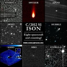 2013 Nov 4: Montage of Eight NASA Assets (spacecraft) that have imaged C/ISON. (Courtesy: Karl Battams of CIOC Team; www.isoncampaign.com)