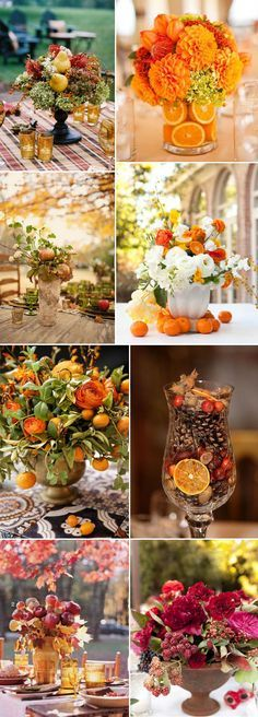 creative fall wedding centerpieces ideas with fruit