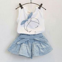 Sotida Girls Clothing Sets 2017 Brand Summer Fashion Kids Clothing Sets Sleeveless White T-shirt+Plaid Culottes Girls Suit Girls Summer Outfits, Baby Outfits, Cute Outfits, Summer Clothes, Summer Girls, Girls Dresses, Outfits 2016, Formal Outfits, Rock Outfits