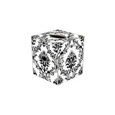 TB1274 Black on White Damask Tissue Box Cover ($36) ❤ liked on Polyvore featuring home, bed & bath, bath, bath accessories, white bath accessories, black bath accessories, white tissue box, black bathroom accessories and black tissue box holder