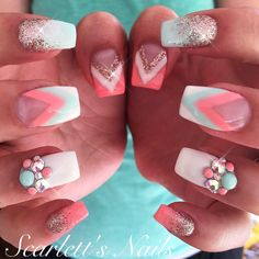 Mint blue and melon pink chevron summer gel nails with Swarovski crystals #scarlettsnails