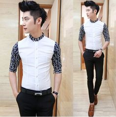 2014 Man Fashion Dress Shirts Popular Style Asian Men Clothing Good Quality Cheap Price Free Ship $24.88