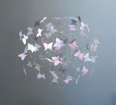 Hanging Butterfly Mobiles, Nursery Art Mobile, Girl Bedroom Decor,  Pink Grey and White Mobile for Nursery