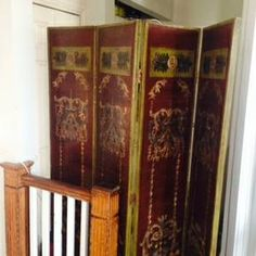 Beautiful Four Panel Hand-Painted Screen. Six feet tall. In good condition. Originally $1600, now $595