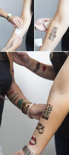 DIY | bachelorette temporary tattoos. http://somethingturquoise.com/2013/09/13/temporary-bachelorette-party-tattoos/  http://www.decalpaper.com/category-s/8.htm