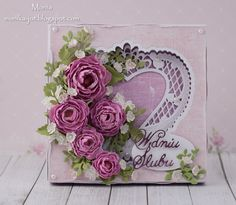 Bunch of flowers by Monia - Cards and Paper Crafts at Splitcoaststampers Wedding Cards Handmade, Greeting Cards Handmade, Pretty Cards, Cute Cards, Card Making Inspiration, Making Ideas, Valentine Love Cards, Valentines, Card Making Designs