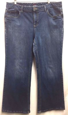 Tommy Hilfiger Women's Classic Straight Leg Blue Jeans 18A 40 x 29  #TommyHIlfiger #RelaxedStraightLeg
