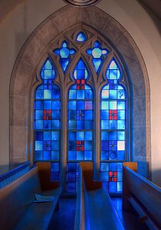 Stained glass window, as seen from the choir loft, Florissant, MO