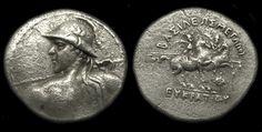 Eukratides I (171-145 B.C.) Silver Tetradrachm, Coins, Greek Hellenistic Macedonian